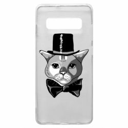 Чохол для Samsung S10+ Black and white cat intellectual