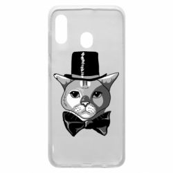 Чехол для Samsung A20 Black and white cat intellectual