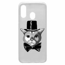 Чохол для Samsung A40 Black and white cat intellectual