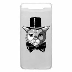 Чохол для Samsung A80 Black and white cat intellectual