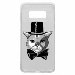 Чехол для Samsung S10e Black and white cat intellectual