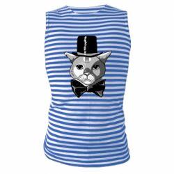 Майка-тільняшка Black and white cat intellectual