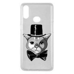 Чехол для Samsung A10s Black and white cat intellectual