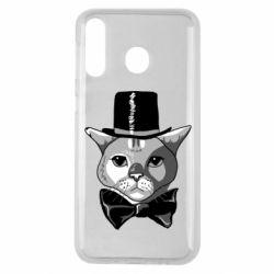 Чохол для Samsung M30 Black and white cat intellectual