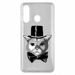 Чохол для Samsung M40 Black and white cat intellectual