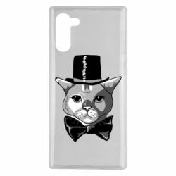 Чехол для Samsung Note 10 Black and white cat intellectual