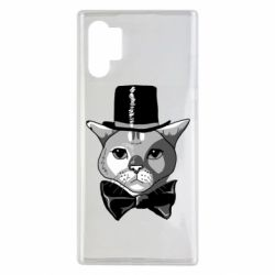 Чехол для Samsung Note 10 Plus Black and white cat intellectual