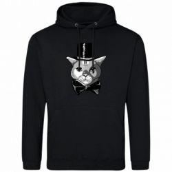 Чоловіча толстовка Black and white cat intellectual