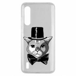 Чехол для Xiaomi Mi9 Lite Black and white cat intellectual