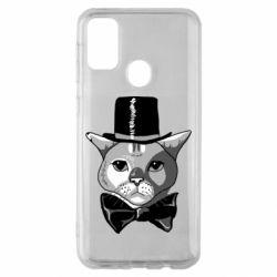 Чохол для Samsung M30s Black and white cat intellectual