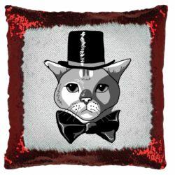 Подушка-хамелеон Black and white cat intellectual