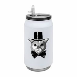 Термобанка 350ml Black and white cat intellectual