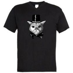 Чоловіча футболка з V-подібним вирізом Black and white cat intellectual