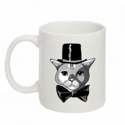Кружка 320ml Black and white cat intellectual