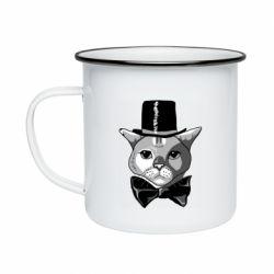 Кружка емальована Black and white cat intellectual