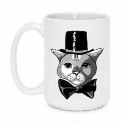 Кружка 420ml Black and white cat intellectual