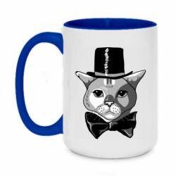 Кружка двоколірна 420ml Black and white cat intellectual