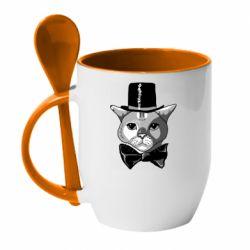 Кружка з керамічною ложкою Black and white cat intellectual