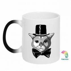 Кружка-хамелеон Black and white cat intellectual