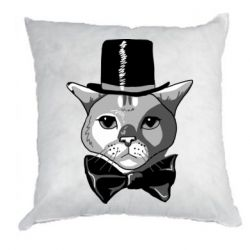 Подушка Black and white cat intellectual