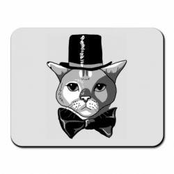 Килимок для миші Black and white cat intellectual