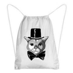 Рюкзак-мішок Black and white cat intellectual