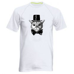 Чоловіча спортивна футболка Black and white cat intellectual