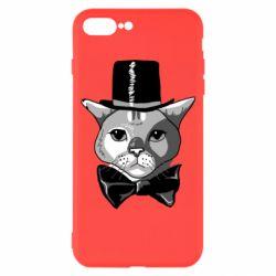 Чохол для iPhone 7 Plus Black and white cat intellectual