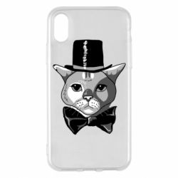 Чехол для iPhone X/Xs Black and white cat intellectual