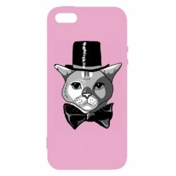 Чохол для iphone 5/5S/SE Black and white cat intellectual