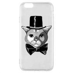 Чехол для iPhone 6/6S Black and white cat intellectual