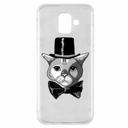 Чехол для Samsung A6 2018 Black and white cat intellectual