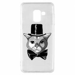 Чохол для Samsung A8 2018 Black and white cat intellectual