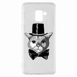 Чохол для Samsung A8+ 2018 Black and white cat intellectual