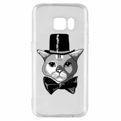 Чехол для Samsung S7 Black and white cat intellectual
