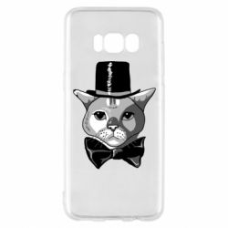 Чехол для Samsung S8 Black and white cat intellectual