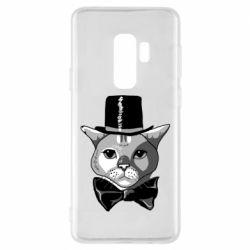 Чохол для Samsung S9+ Black and white cat intellectual