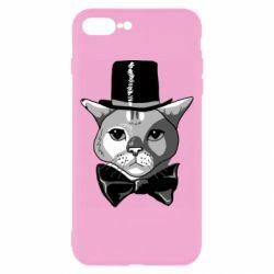 Чохол для iPhone 8 Plus Black and white cat intellectual