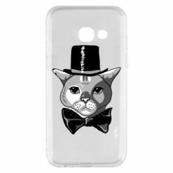 Чехол для Samsung A3 2017 Black and white cat intellectual