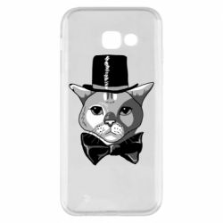 Чехол для Samsung A5 2017 Black and white cat intellectual