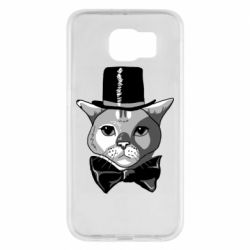 Чехол для Samsung S6 Black and white cat intellectual