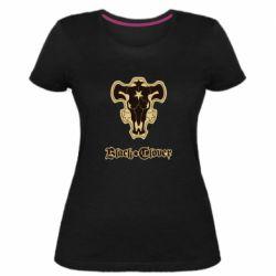 Женская стрейчевая футболка Black clover logo