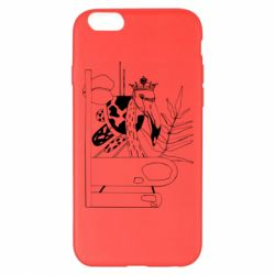 Чехол для iPhone 6 Plus/6S Plus Black flamingo