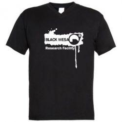 Мужская футболка  с V-образным вырезом Black Mesa