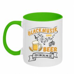 Кружка двухцветная 320ml Black music and bear you can call me sir