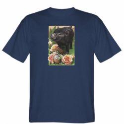 Мужская футболка Black pig and flowers