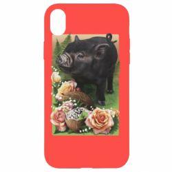 Чехол для iPhone XR Black pig and flowers