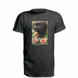 Удлиненная футболка Black pig and flowers