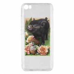 Чехол для Xiaomi Mi5/Mi5 Pro Black pig and flowers