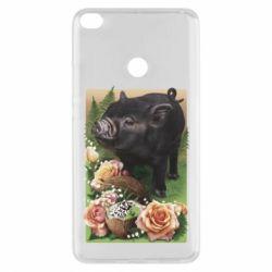 Чехол для Xiaomi Mi Max 2 Black pig and flowers